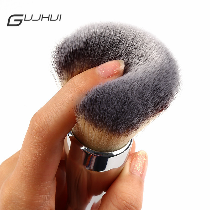 Makeup Beauty & Health Hot Sale Gujhui Silver Cosmetic Flat Foundation Face Blush Kabuki Powder Contour Makeup Brush Tool Hottest