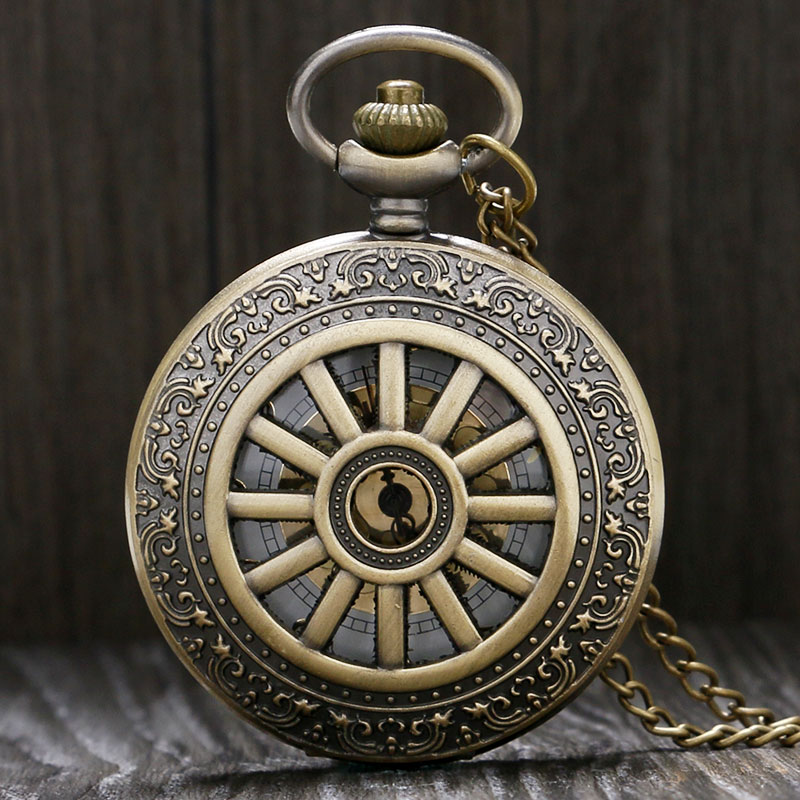 Retro Bronze Hollow Pattern  Case With Golden Number Dial Quartz Fob Pocket Watch With Necklace Chain Gift To Men Women