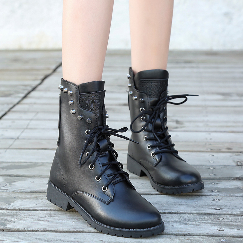 Winter boots women Rivets Shoe Round Toe Lace-UP Strap Square Heel Single  Shoe Martin s botas mujer  20180924 7cb35fd476f3
