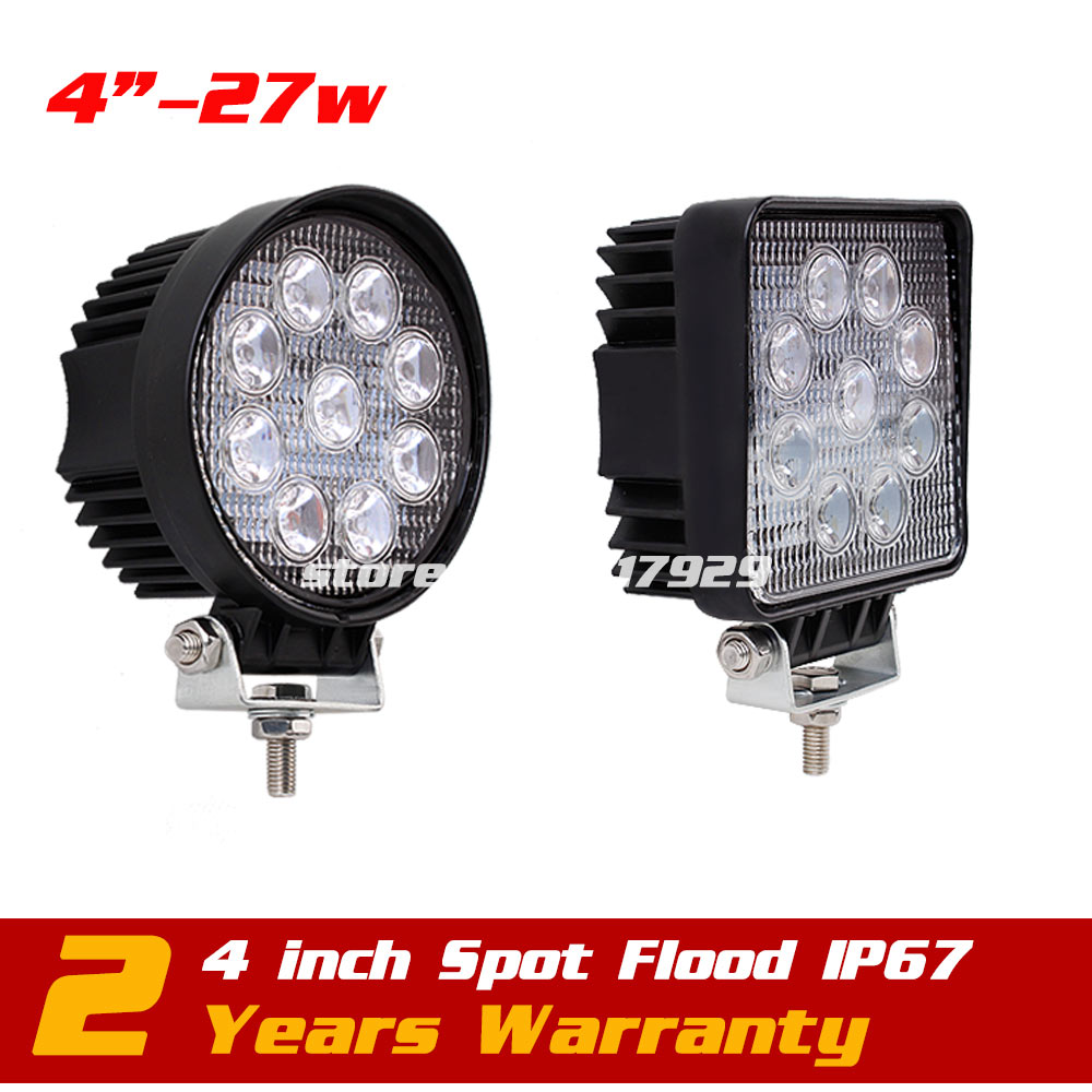 4 27W LED Work Light IP67 Spot / Flood Tractor Motorcycle ATV Offroad Fog Light LED Worklight External Light Seckill 10w 18w 22 inch led bar offroad 120w led light bar off road 4x4 fog work lights for trucks tractor atv spot flood combo led lightbars