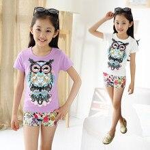 New Kids Summer Girls Pure Korean Owl Children T-shirt Kids Clothing White Pink Purple