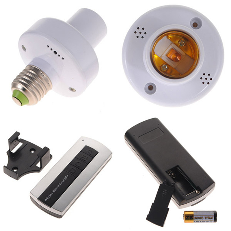 Smuxi 4Pcs E27 12V Screw Wireless Remote Control Light Lamp Bulb Lighting Holder Cap Socket Switch Converter Splitter Adapter new rf 315 e27 led lamp base bulb holder e27 screw timer switch remote control light lamp bulb holder for smart home