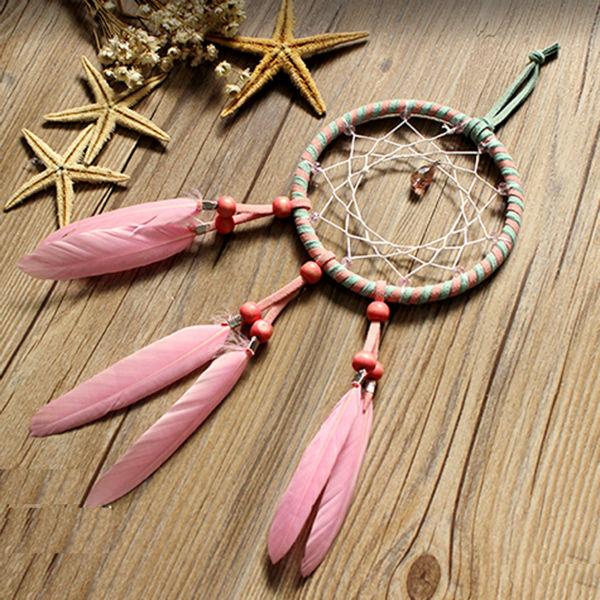 Pink Feather Dreamcatcher Wall Hanging Drop Interspersed Handmade