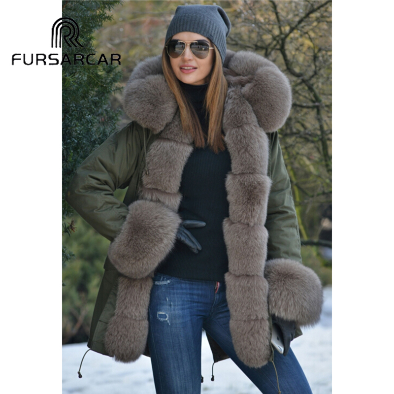 Fursarcar 75 Cm Lengthy Actual Fur Coat Ladies's Winter New Model Parka With Thick Fox Fur Collar And Cuff Trend Fox Fur Parka