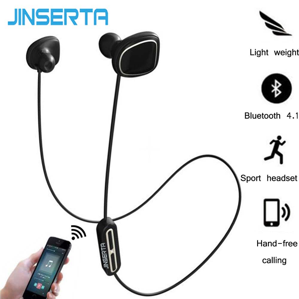 JINSERTA Wireless Bluetooth Earphone Noise Cancelling Headset Sport Running Earbuds  Headset with Mic 5 EQ Bass Stereo Sound wireless 4 0 bluetooth headset hands free stereo bluetooth earphone with noise cancelling mic for samsung iphone xiaomi lg