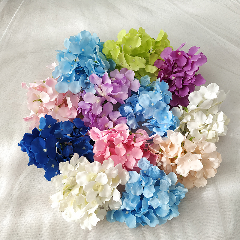 Image 5 - 10pcs/lot Colorful Decorative Flower Head Artificial Silk Hydrangea DIY Home Party Wedding Arch Background Wall Decorative Flowe-in Artificial & Dried Flowers from Home & Garden