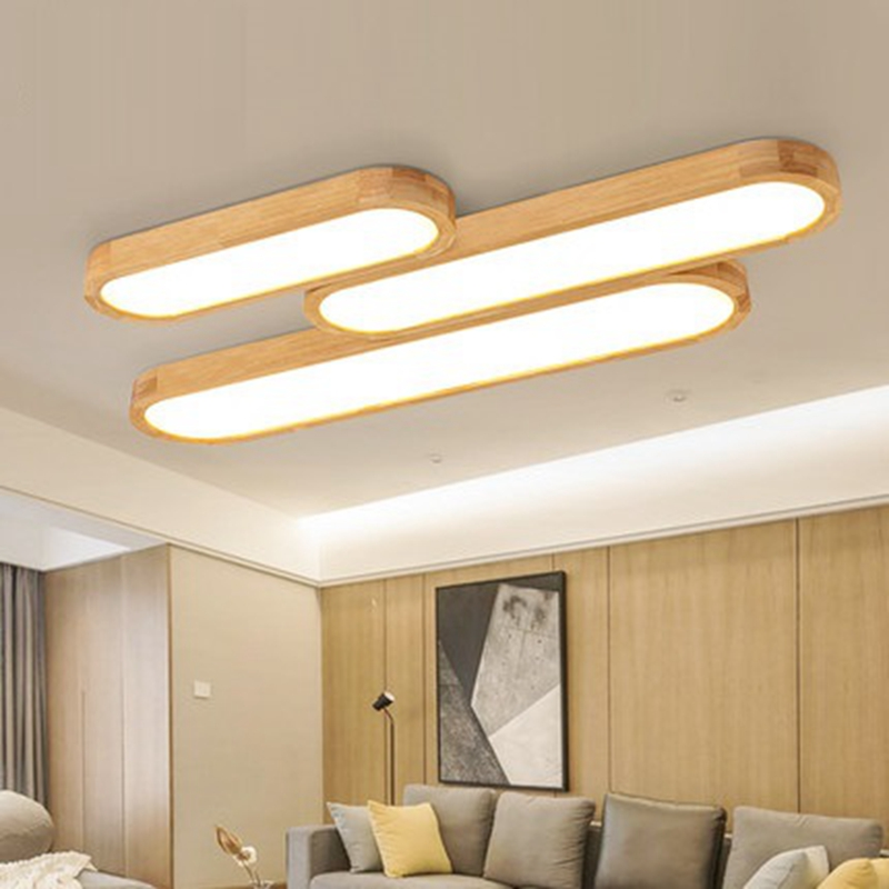 LukLoy Puzzle Ceiling Lamp Long Strip Solid Wood Lamp Nordic Creative Bedroom Living Room Light Wood Simple Style LED Light цена