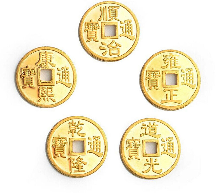 A Set Of Pure 24K Yellow Gold Pendant / Craved Bless Money Coin PendantA Set Of Pure 24K Yellow Gold Pendant / Craved Bless Money Coin Pendant