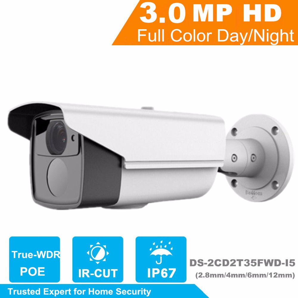 HiK 2017 New Released H.265 IP Camera DS-2CD2T35FWD-I5 3MP Ultra-Low Light Network Bullet Camera Replace for DS-2CD2T35-I5 hikvision new released 8mp h 265 network dome camera ds 2cd2185fwd i 3d dnr bullet camera 3840 2160 resolution ik 10 ip 67
