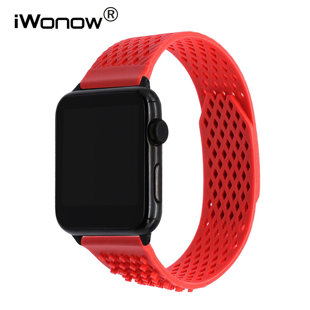 купить Silicone Loop Watchband + Adapters for iWatch Apple Watch Sport Edition 38mm 42mm Wrist Band Rubber Strap Replacement Bracelet дешево