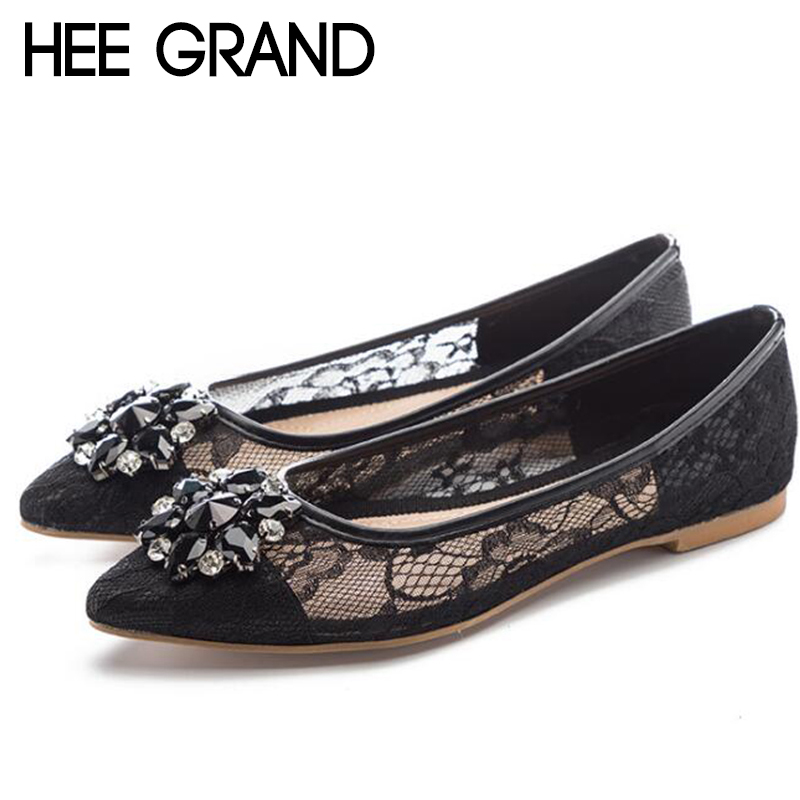 HEE GRAND 2018 New Women Fashion Flats Lace Vamp Breatheable Crystal Decoration Women Slip-on Causal Mujer Shoes XWD6797