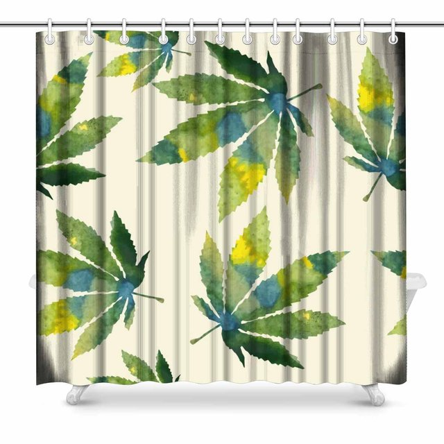Cans Leafs Print Polyester Fabric Shower Curtain 72 X Inches Extra Long
