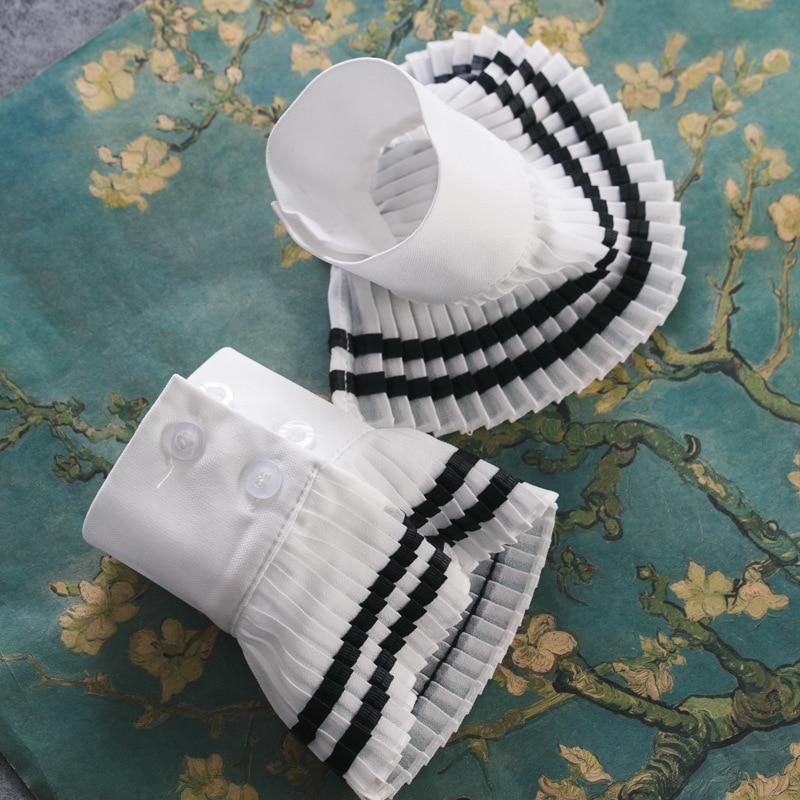 Women Hand Bowl Lace Cuffs Big Wave Hand Gloves Women's Knitting Leisurely Versatile Bowl Navy Wind Folding Hand Bowl Set Lace
