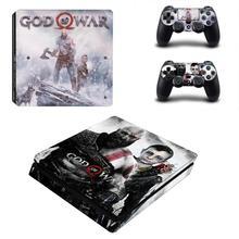 神の戦争 4 PS4 スリムデュアルショックのデカールのためのプレイステーション 4 コンソールと 2 コントローラ PS4 スリムスキンステッカービニール