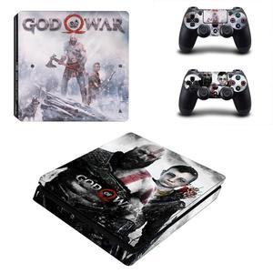 Image 1 - God of War 4 PS4 Slim skóry naklejka naklejka do kontrolera Dualshock PlayStation 4 konsola i 2 kontrolery PS4 Slim skórki naklejki ścienne winylowe