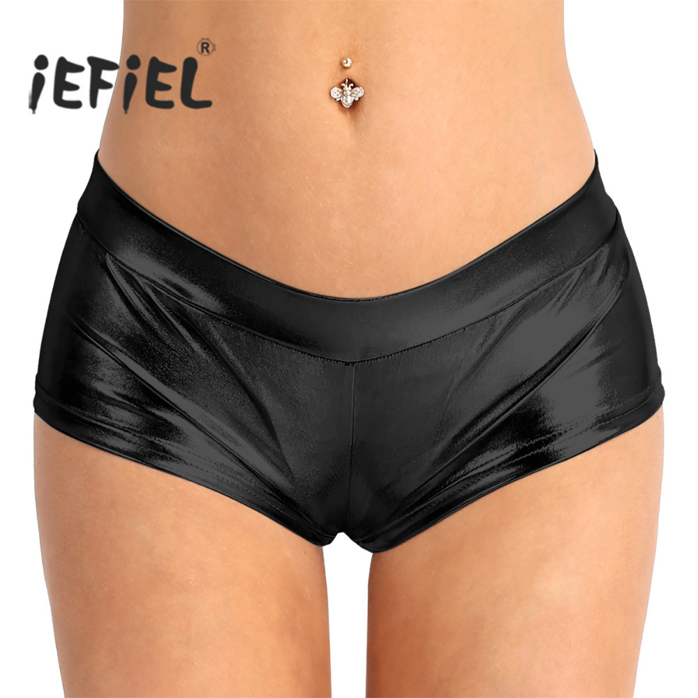 Womens Ladies Fashion Mini   Shorts   Shiny Faux Leather Low Waist Hot   Shorts   Sexy Clubwear for Dancing Raves Festivals Costumes