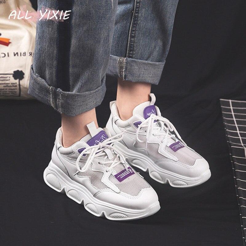 Все YIXIE2019 весенне летняя новая модная женская обувь дышащая спортивная женская обувь из сетчатого материала повседневная обувь на толстой подошве