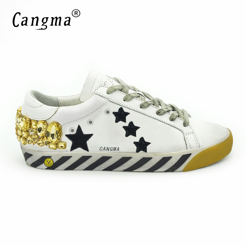 CANGMA Original Italy Deluxe Brand Superstar Men Shoes Genuine Leather Crystal Man Diamond White Shoes Scarpe