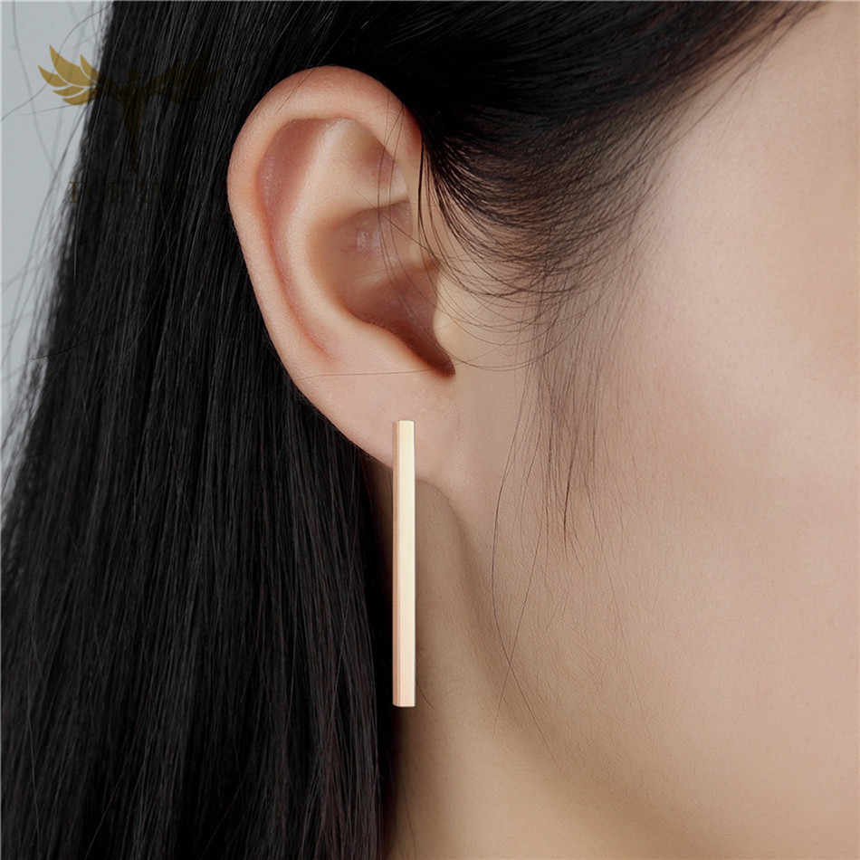 FGifter Minimalist Drop Earrings 3mm Long Barbell Earring Rose Gold Stainless Steel Jewelry for Women