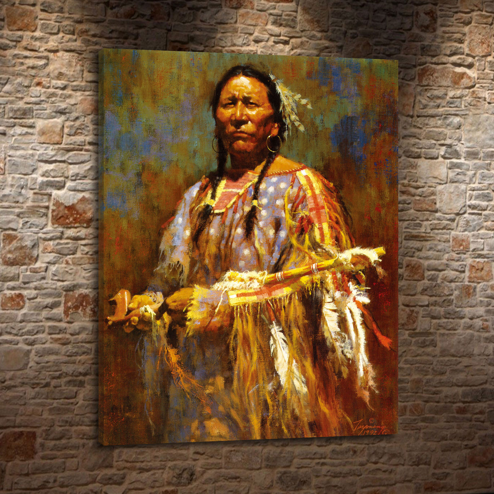Howard Terpning Indians Daily and Portrait Canvas HD Print Living Room Bedroom Home Wall Art Decoration Oil Painting #031