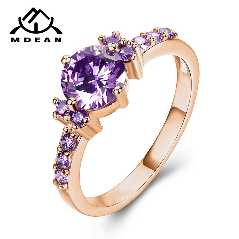MDEAN Rose Gold Color Ring Purple AAA Zircon Jewelry for Women Engagement Wedding Gift bague bijoux Size <font><b>5</b></font> 6 7 8 <font><b>9</b></font> 10 <font><b>11</b></font> 12H083 image