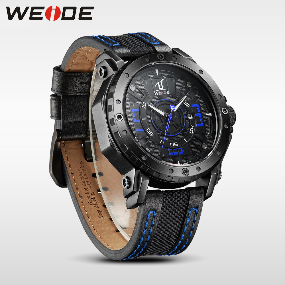 WEIDE hommes montre de luxe marque montre étanche en cuir bracelets le long de quartz Auto Date montres sport horloge relogio masculino