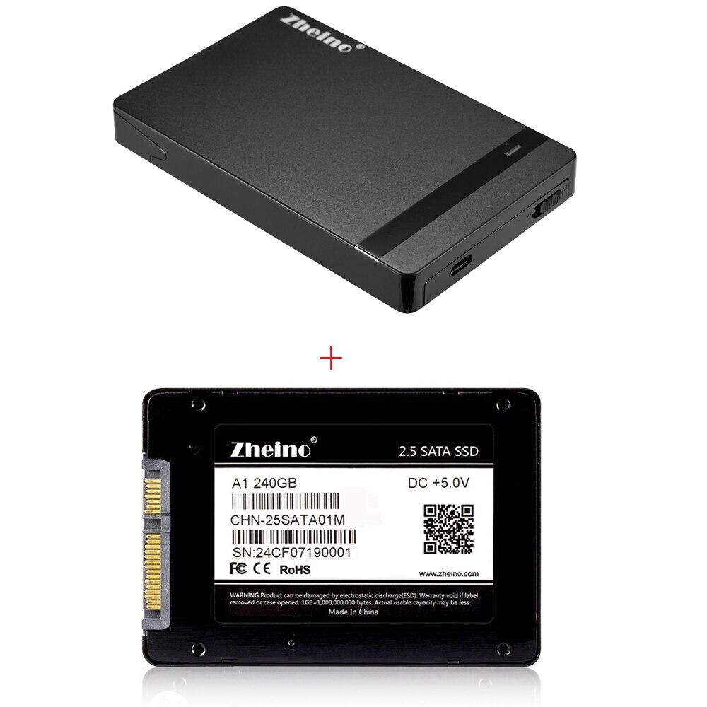 2.5 SATAIII A1 240GB SSD Zheino 7mm MLC Internal Solid Sate Drive with USB Type C-C External Hard Drive Enclosure HDD SSD Case samsung t5 portable ssd fast speed usb 3 1 ssd drive