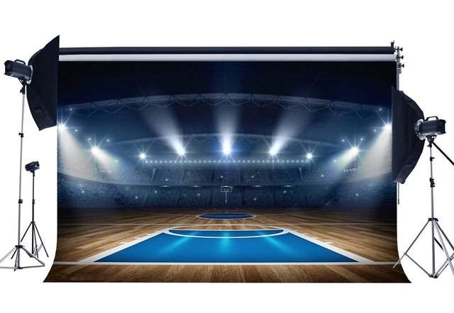 Basketball Court Backdrop Stadium Backdrops Crowd Shining Stage Lights Shabby Wood Floor Interior Photography Background