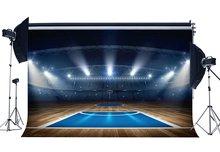 Campo da basket Sfondo Stadio Fondali Folla Brillante Luci del Palcoscenico Shabby Pavimento In Legno Interni Fotografia di Sfondo