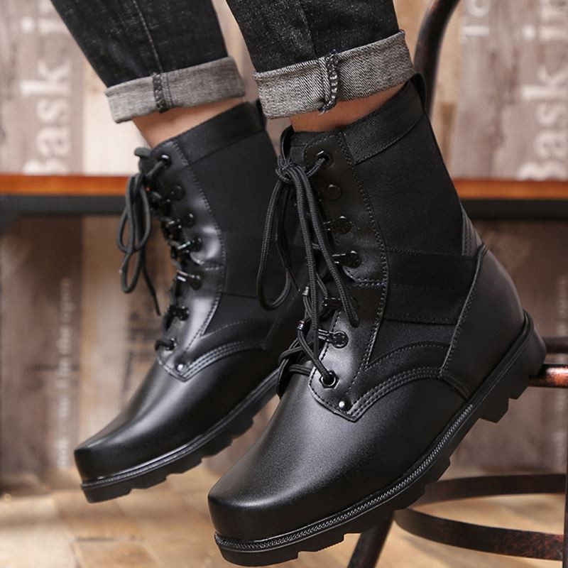2019 Genuine Leather Steel Toe Snow Boots for Men Natural Wool Military Shoes Warm Cowboy Waterproof Safety Boots Big Size 38 45 in Basic Boots from Shoes