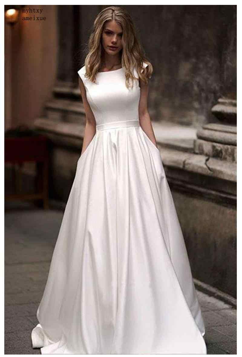 Vestidos de casamento Com o Pocket 2019 Vestido De Novia Vestidos de Noiva Sem Mangas Até O Chão de Cetim Branco Do Vestido de Casamento Vestido De Noiva