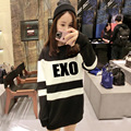 EXO KPOP spring autumn 2017 Korean version women Mixed colors Cotton Letters printed In the long section Long sleeve Sweatshirts