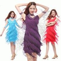 New 2017 Latin Dance Dresses Suits Women/Girls Sexy Fringes long Skirt Ballroom/Tango/Rumba tassel Dresses Clothings For Dancer