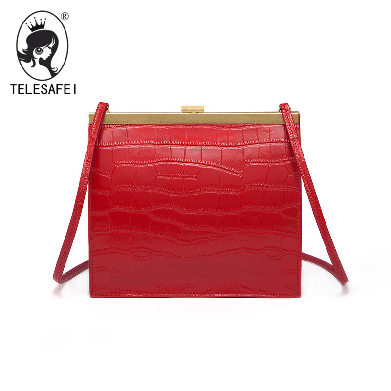 TELESAFEI brand women genuine leather shoulder bag Crocodile skin small handbag casual lady crossbody bag schoudertas fake bags genuine leather studded satchel bag women s 2016 saffiano cute small metal rivet trapeze shoulder crossbody bag handbag