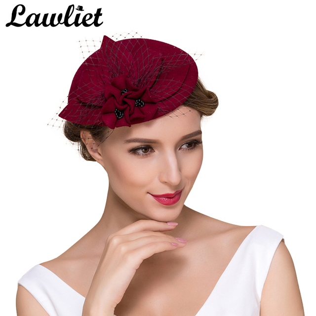 Classic Fascinator Hat for Women Socialite Flower Netting Black Pearl Wool  Women Pillbox Hat Tilt Wedding Party Cocktail Hats 8f68404410a