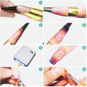 Image 5 - New Arrival 100 x Golden Nail Art Tips Extension Forms Guide French DIY Tool Acrylic UV Gel