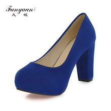arrivals 2017 fashion shallow thick high heels round toe high heels platform pumps shoes sexy buckle strap pumps hot sale