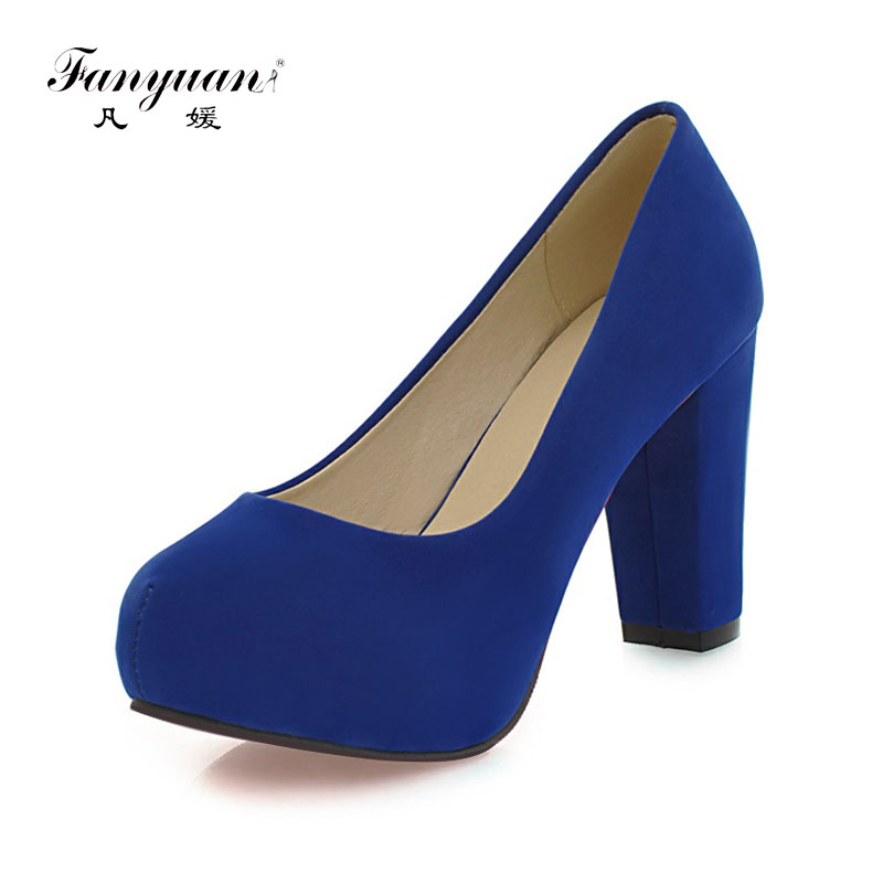 New Arrivals  Fashion Shallow Thick High Heels Round Toe High Heels Platform Pumps Shoes Sexy Buckle Strap Pumps Hot Sale