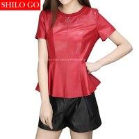 SHILO GO New Fashion Street Women Short O Neck sheepskin Genuine Leather Ruffles Shirt Ladies black red short Shirt Good Quality