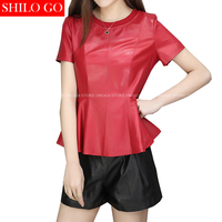 SHILO GO New Fashion Street Women Short O Neck sheepskin Genuine Leather Ruffles Shirt Ladies black red short Shirt Good Quality