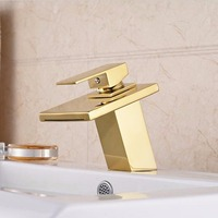 Free shipping gold single holder waterfall basin water faucet bathroom brass gold chrome water mixer faucet dona 4020