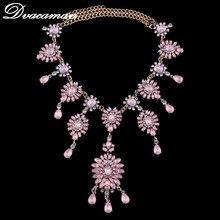 Dvacaman 2017 Moda Nuevo Color Caramelo Collar Pendiente Cristalino del Rhinestone Party Collar Llamativo Gargantillas Para Las Mujeres Jewelry7679