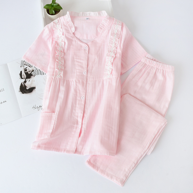 Pajama Suit Female Summer Soild Color Sweet Washed Cotton Two-piece Japanese Thin Section Loose Cardigan Short-sleeved Trousers