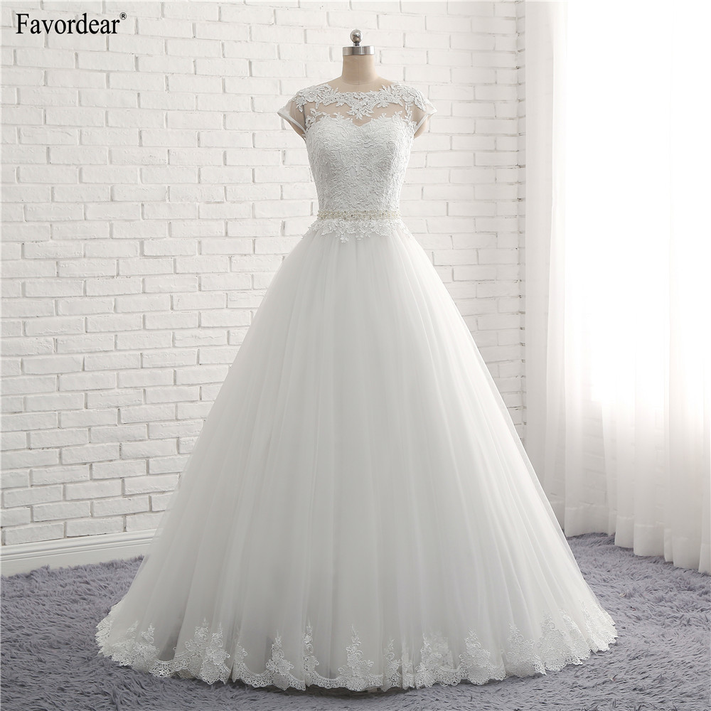 Favordear Vintage Inspired Vestido De Novia 2018 Cap Sleeves Sheer Lace Bridal Wedding Dresses With Beading Waist