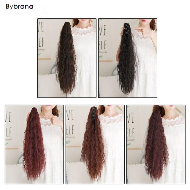 Bybrana largo rizado pelucas de cola de caballo rojo vino Pony cola resistente al calor sintético Cola de Caballo de pelo falso piezas