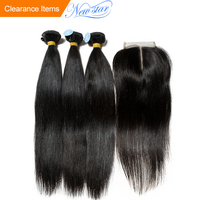 Peruvian Straight 3 Bundles 10A Virgin Hair With Lace Closure New Star Raw Hair Weaving Bundles And Closure Cuticle Aligned Hair