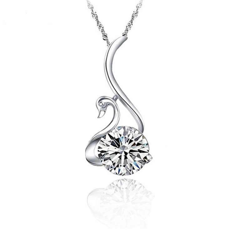 YAAMELI романтический дизайн Лебедь ожерелье для Для женщин 925 пробы серебро сверкающих CZ для Для женщин Модные украшения Бесплатная доставка