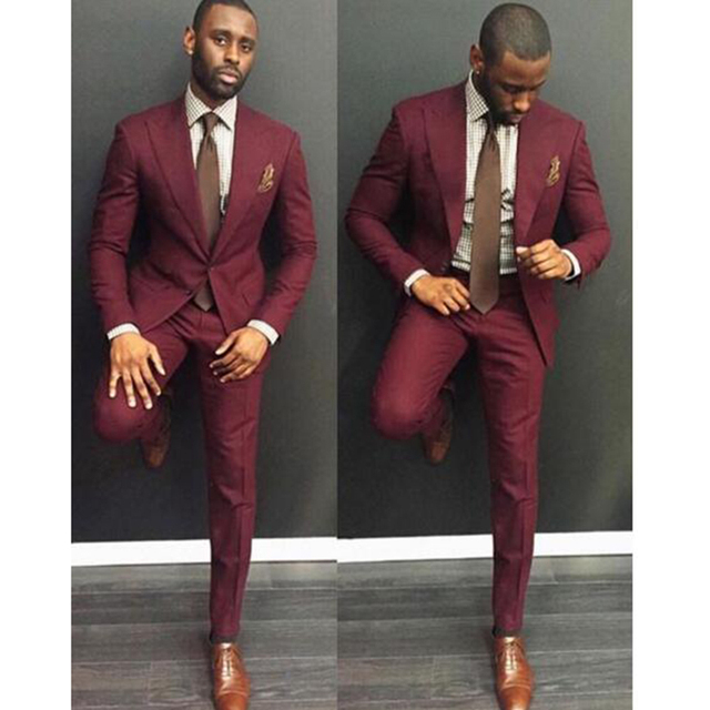 3bdbb32bd476ff Classic Style wine red Men Suit Slim Fit 2 Pieces burgundy Groom Tuxedos  Groomsman Wear mens Wedding Prom Dress Suits For Men