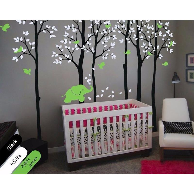 New Tree Wall Decals Size 235X353CM Břízy se slony a ptáky Dekorace školky pro dětský pokoj