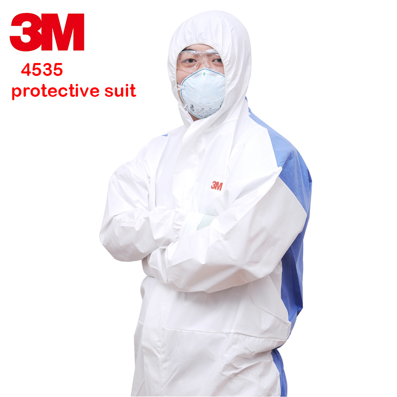3M 4535 Chemical protective clothing Siamese With a hat Safety workwear dust-proof anti-static Splashing paint protection suit mens work clothing reflective coveralls windproof road safety maritime clothing protective clothes uniform workwear plus size